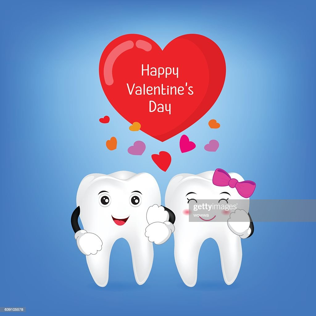 Tooth character with red heart. Couple in love,