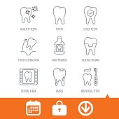 Tooth, dental crown and mouthwash icons. Caries.