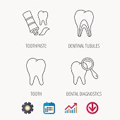Tooth, dental diagnostics and toothpaste icons.