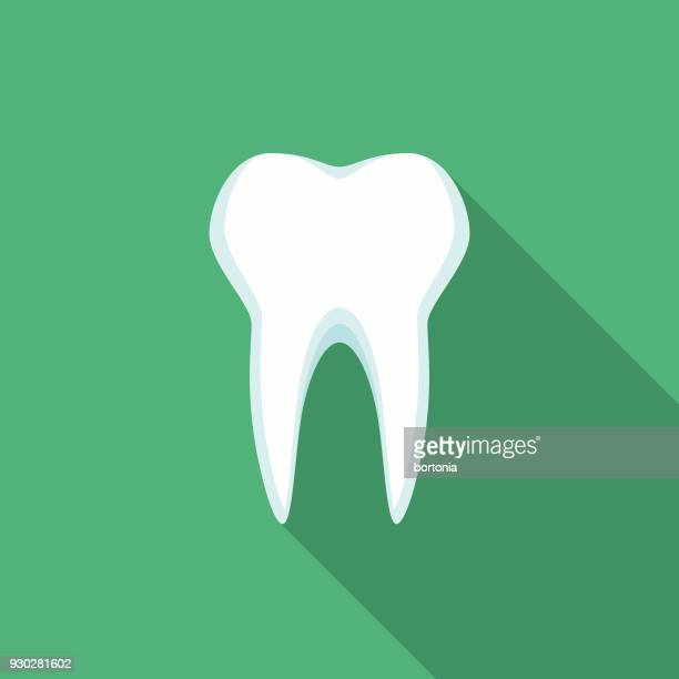 Tooth Flat Design Dentist Icon with Side Shadow
