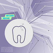 Tooth Icon on purple abstract modern background. The lines in all directions. With room for your advertising. Vector
