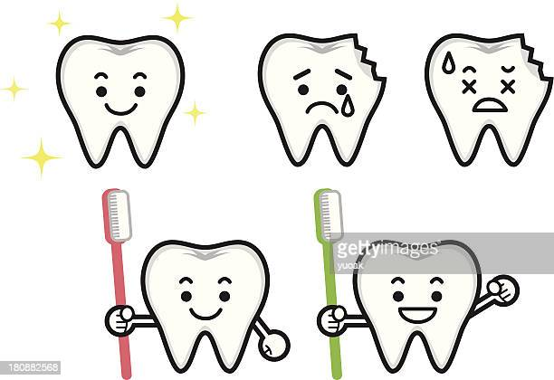 tooth mascot - toothache stock illustrations, clip art, cartoons, & icons