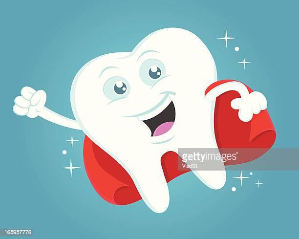 tooth superhero - brushing teeth stock illustrations