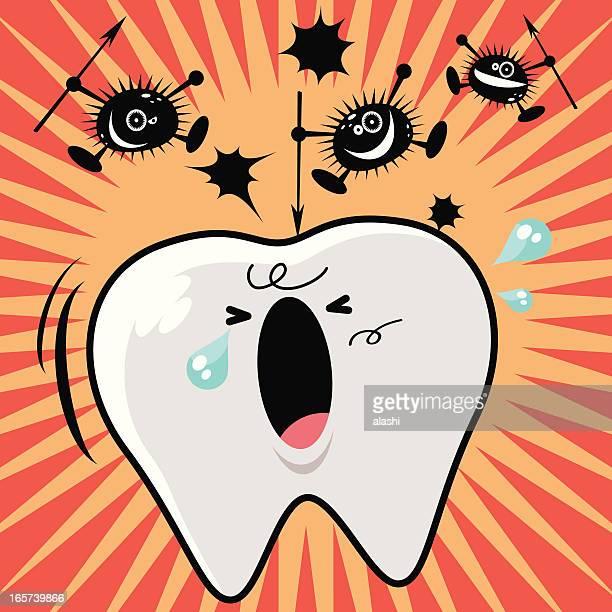 ilustraciones, imágenes clip art, dibujos animados e iconos de stock de dolor de muela: dientes y bacteria - dolordemuelas
