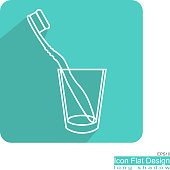 toothbrush and glass flat icon on blue green frame vector