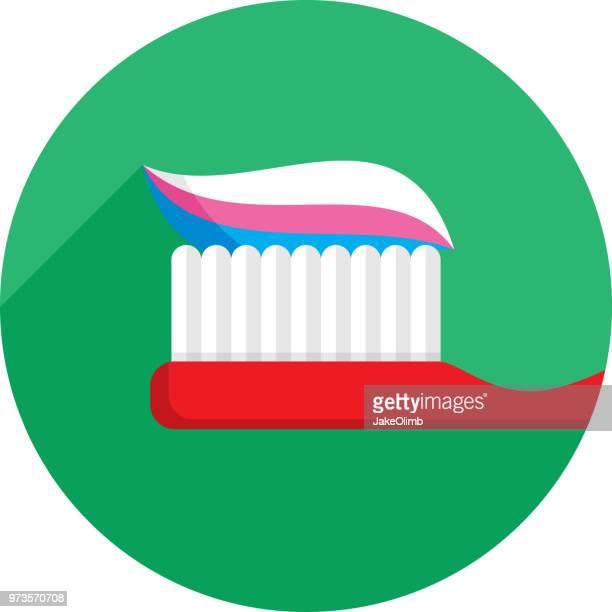 ilustraciones, imágenes clip art, dibujos animados e iconos de stock de icono de cepillo de dientes plano - dolordemuelas