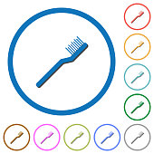 Toothbrush icons with shadows and outlines