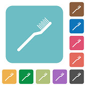 Toothbrush rounded square flat icons