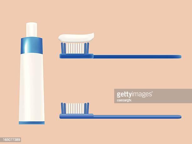 toothbrush set - toothpaste stock illustrations