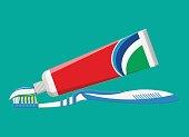 Toothbrush, toothpaste. Brushing teeth.