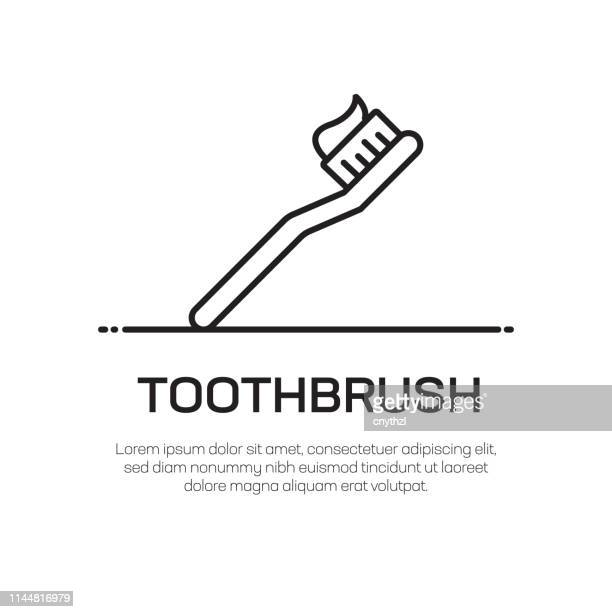 toothbrush vector line icon - simple thin line icon, premium quality design element - toothbrush stock illustrations