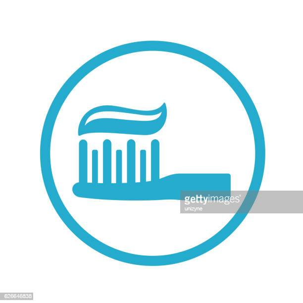 toothbrush with toothpaste icon - toothpaste stock illustrations
