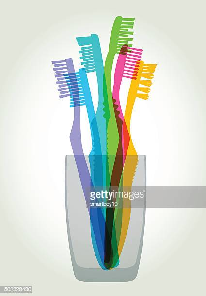 toothbrushes - dental equipment stock illustrations