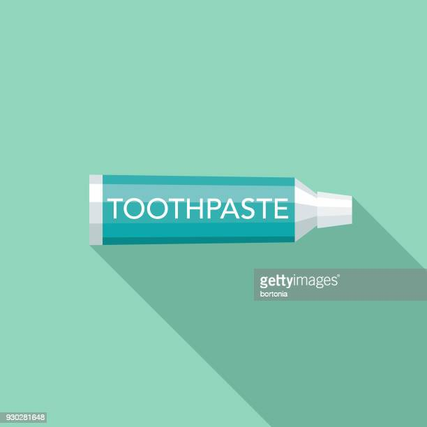 toothpaste flat design dentist icon with side shadow - toothpaste stock illustrations