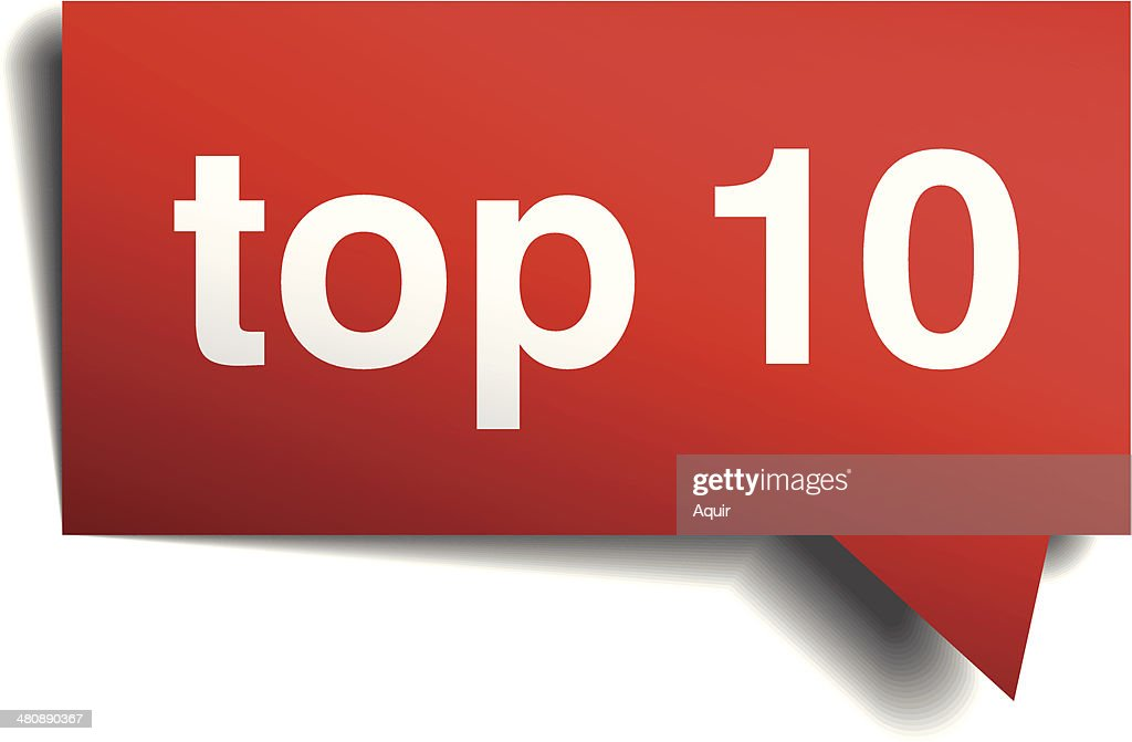 Top 10 red 3d realistic paper speech bubble