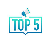 Top 5 - Top Five colorful label on white background. Vector illustration.