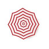 Top Beach umbrella icon isolated on background. Vector Logo illustration.