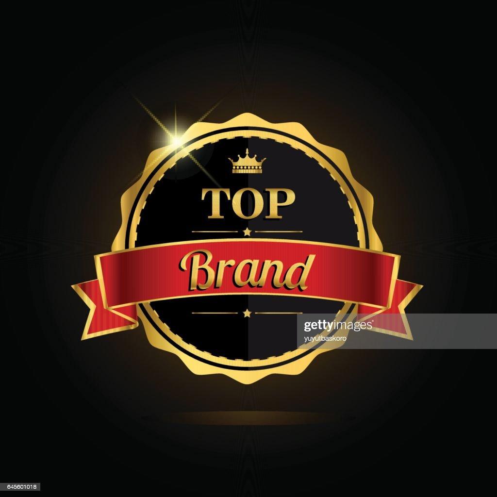 Top brand award label golden colored, vector illustration.