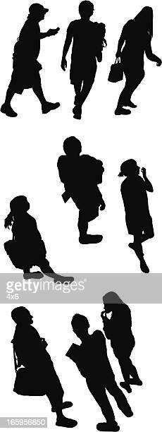 Top down Blick auf silhouette Personen