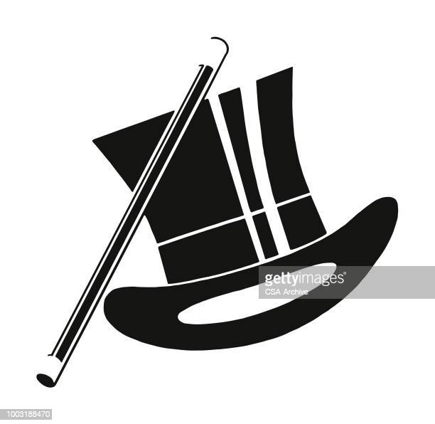 top hat and baton - magician stock illustrations, clip art, cartoons, & icons