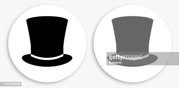 top hat black and white round icon - top hat stock illustrations
