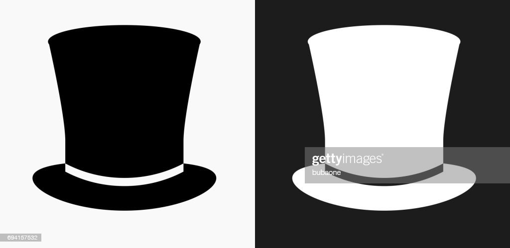 f9cfe35bb84 Top Hat Icon on Black and White Vector Backgrounds