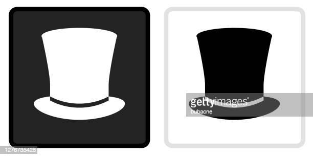 illustrations, cliparts, dessins animés et icônes de icône de chapeau supérieur sur le bouton noir avec le rollover blanc - chapeau