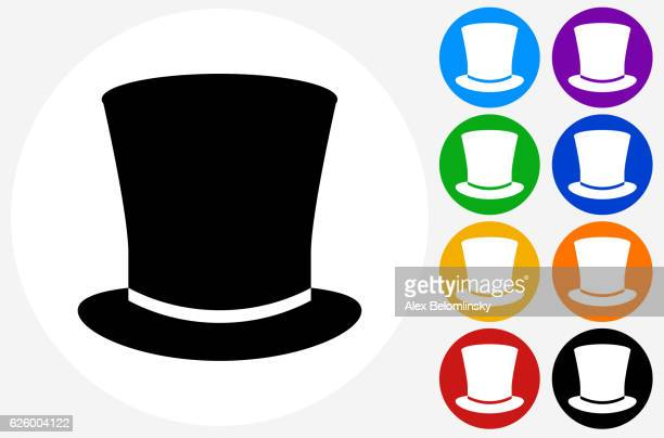 top hat icon on flat color circle buttons - top hat stock illustrations
