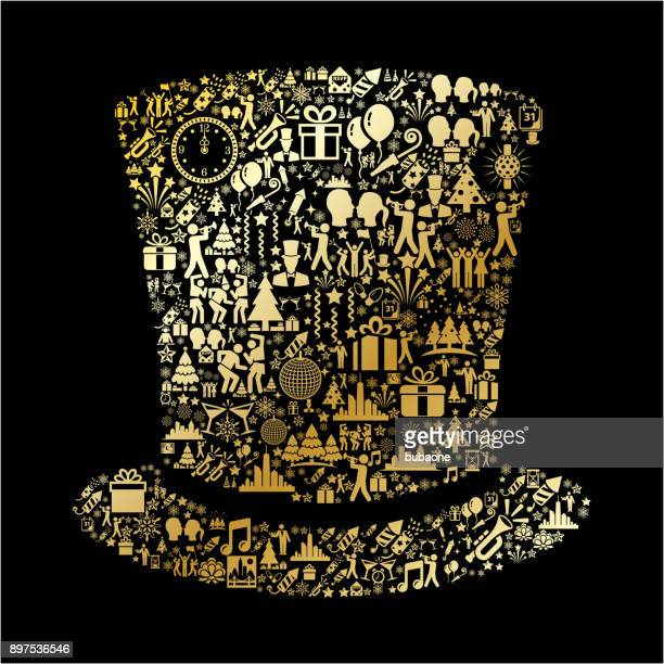 top hat  new year golden celebration party - magician stock illustrations, clip art, cartoons, & icons
