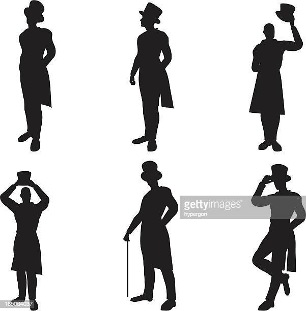 top hat silhouettes - top hat stock illustrations