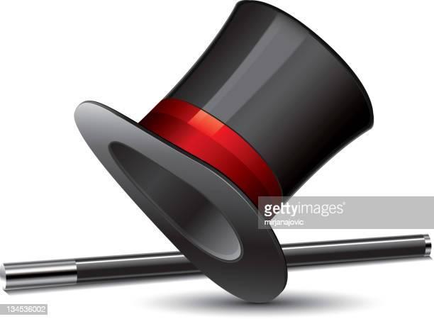 top hat - magic wand stock illustrations