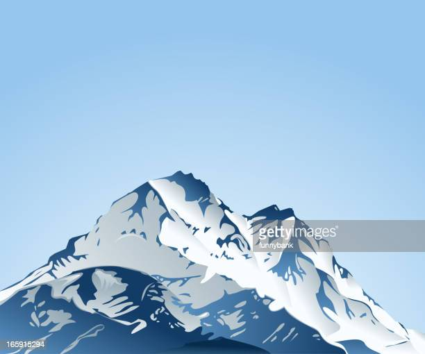 top of mountain covered by snow - himalayas stock illustrations