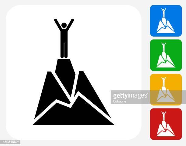 ilustrações, clipart, desenhos animados e ícones de topo da montanha plana ícone de design gráfico - mountain peak