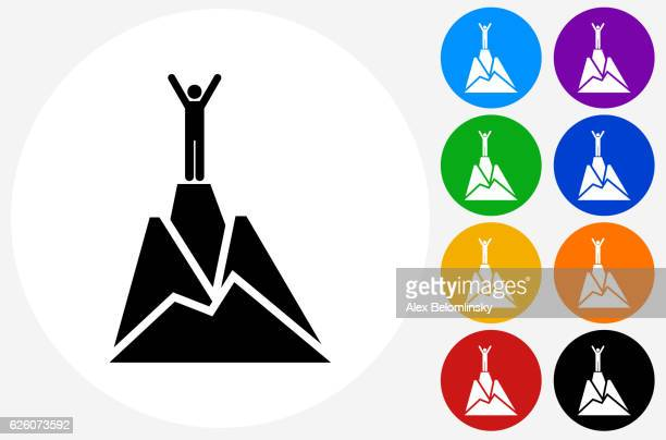illustrations, cliparts, dessins animés et icônes de top of the mountain icon on flat color circle buttons - escalade