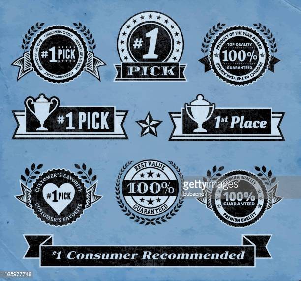 top pick award winner black & white vector icon set - great seal stock illustrations, clip art, cartoons, & icons