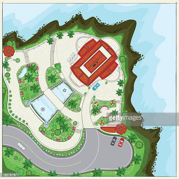 Top plan of a Villa near ocean at the cliff
