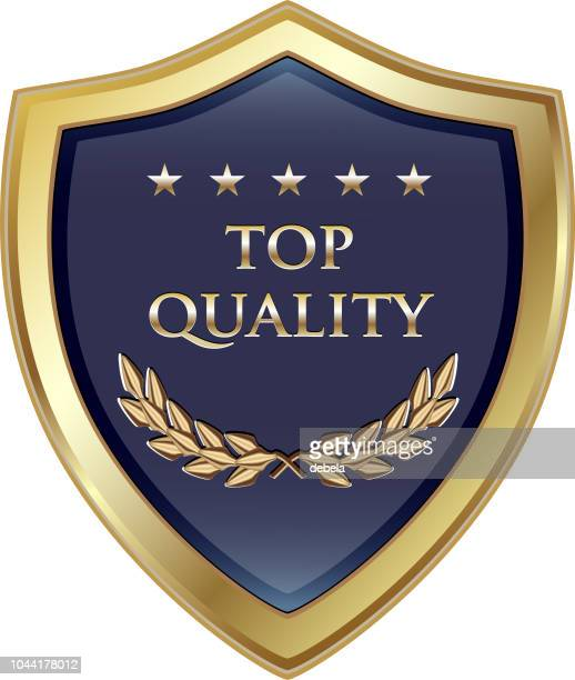 top quality guaranteed luxury gold shield - award plaque stock illustrations, clip art, cartoons, & icons