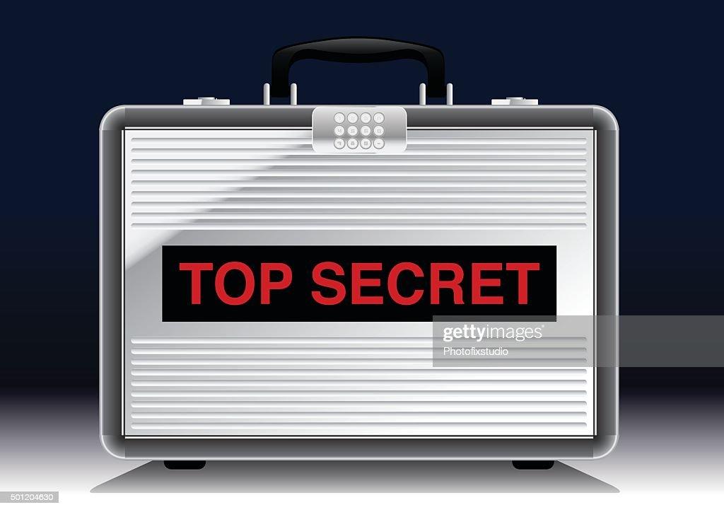 Top Secret metal suitcase under a spotlight