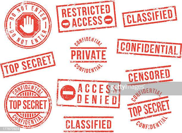 top secret rubber stamps - forbidden stock illustrations