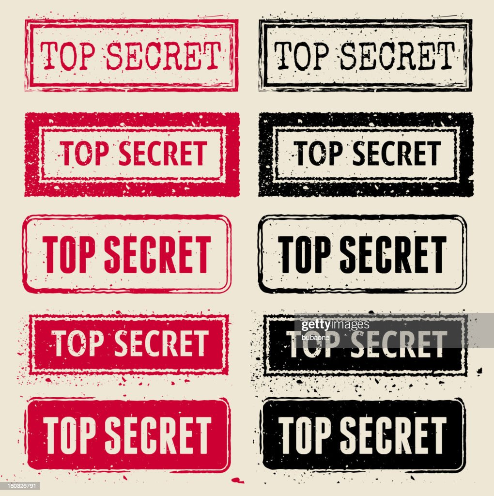 Top Secret Vector Rubber Stamp Collection : stock illustration