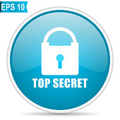 Top seret blue glossy round vector icon in eps 10. Editable modern design internet button on white background.