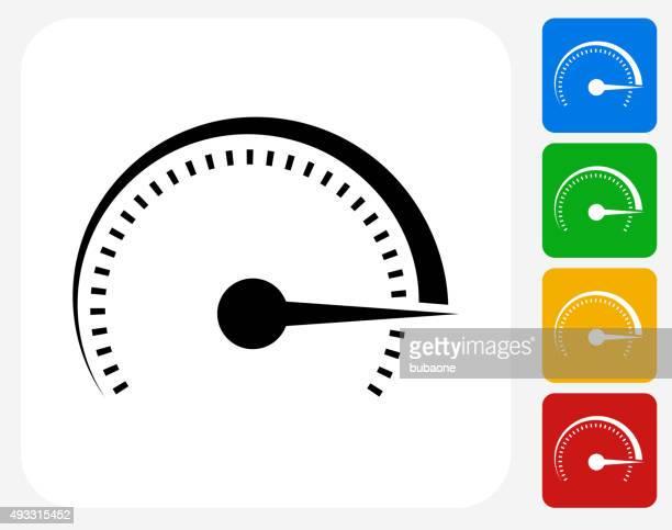 top speed icon flat graphic design - speedometer stock illustrations