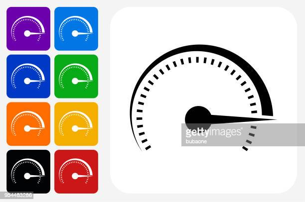 top speed icon square button set - letrac stock illustrations