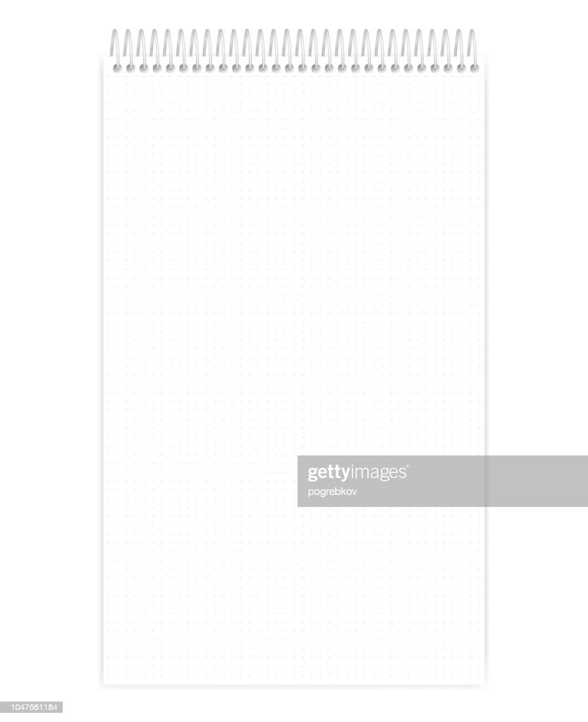 Top spiral legal size dot grid notebook with tear off sheets, mock up