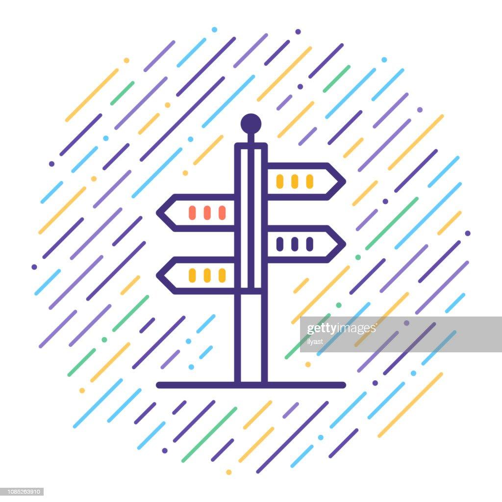 Viajes destinos línea icono ilustración : Ilustración de stock
