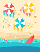 top view beach background with umbrellas,balls,swim ring,starfish and sea, paper cut and craft style, vector