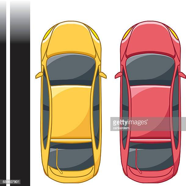 top view car 2 - vehicle hood stock illustrations, clip art, cartoons, & icons