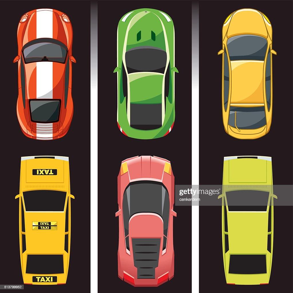 top view car set : stock illustration
