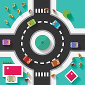 Top View Flat Design Roundabout Crossroad