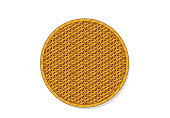 Top view, Isolated Circle rattan tray, vector